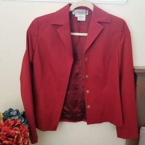 CARLISLE DRESS JACKET. SIZE 4. DEEP ORANGE COLOR.